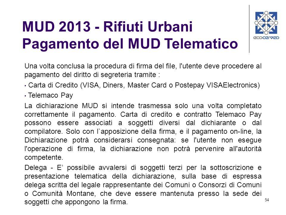 MUD 2013 - Rifiuti Urbani Pagamento del MUD Telematico