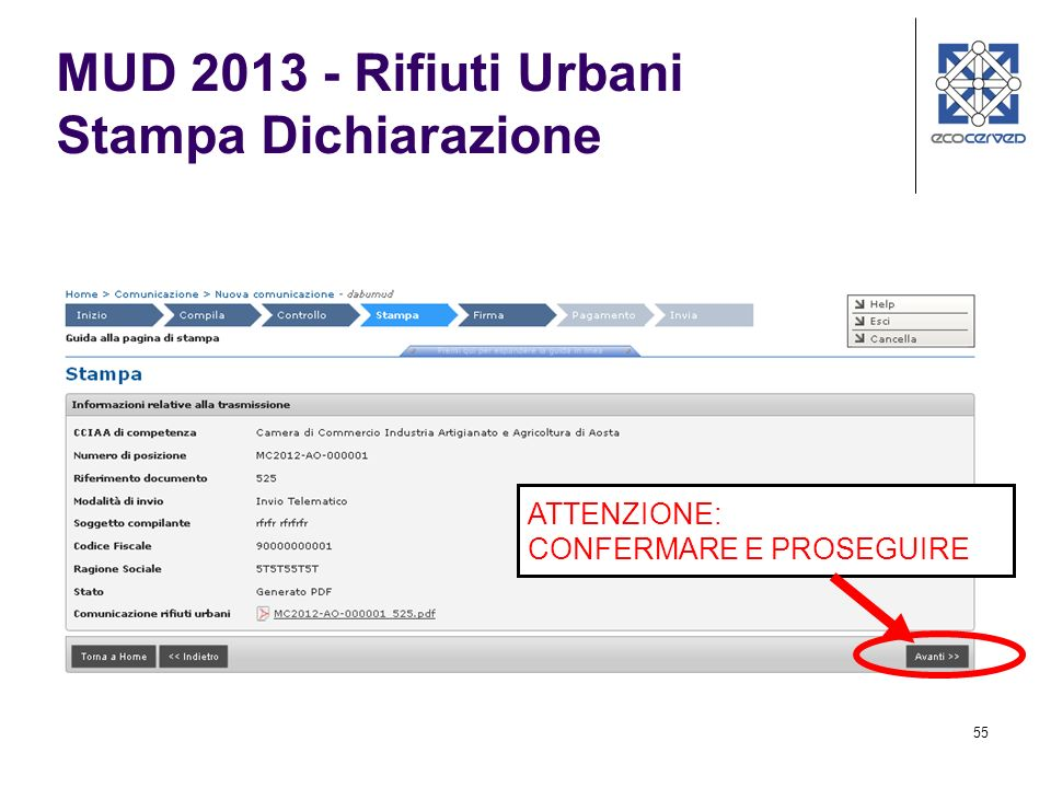 MUD 2013 - Rifiuti Urbani Stampa Dichiarazione