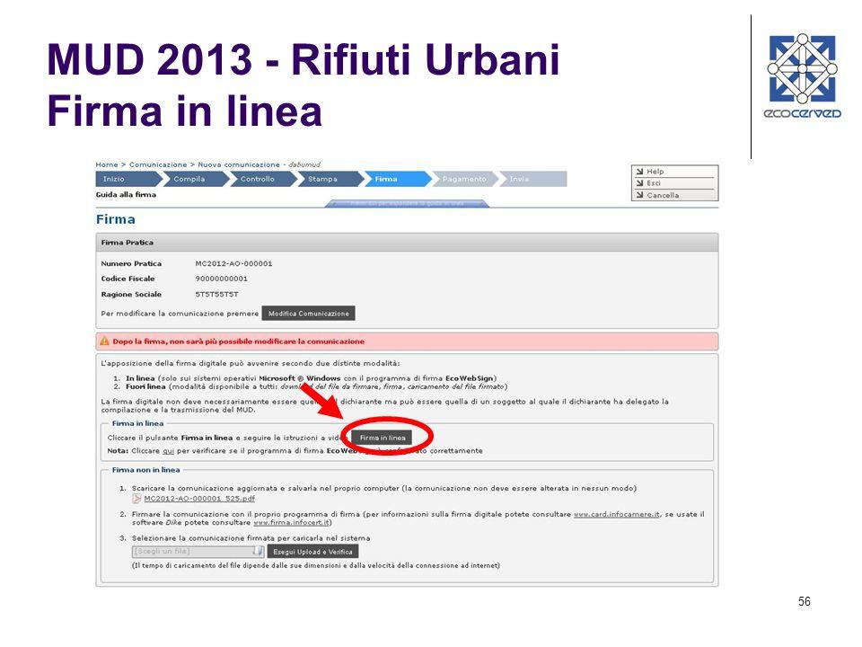 MUD 2013 - Rifiuti Urbani Firma in linea