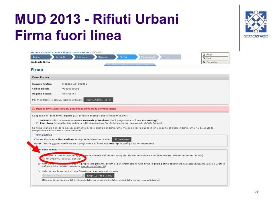 MUD 2013 - Rifiuti Urbani Firma fuori linea
