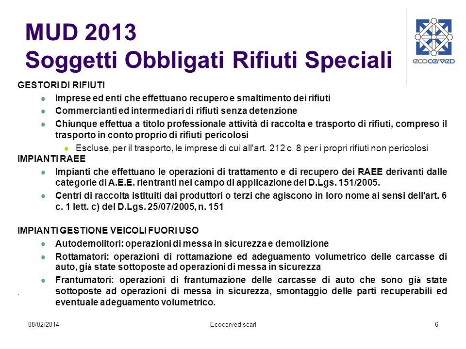 MUD 2013 Soggetti Obbligati Rifiuti Speciali