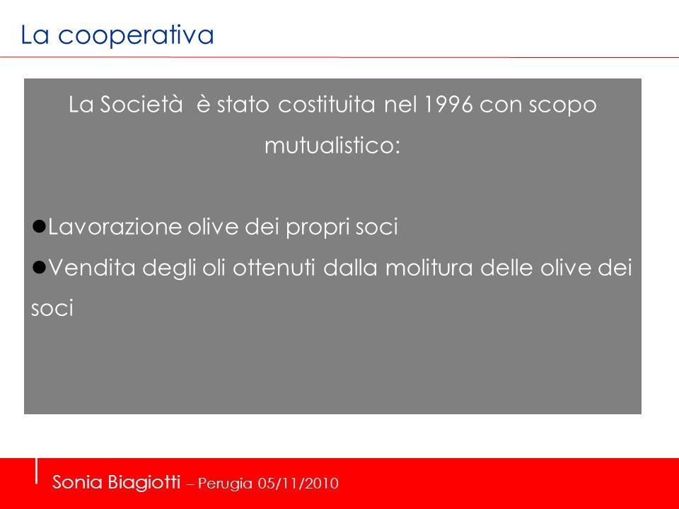 La cooperativa La Società è stato costituita nel 1996 con scopo mutualistico: Lavorazione olive dei propri soci.