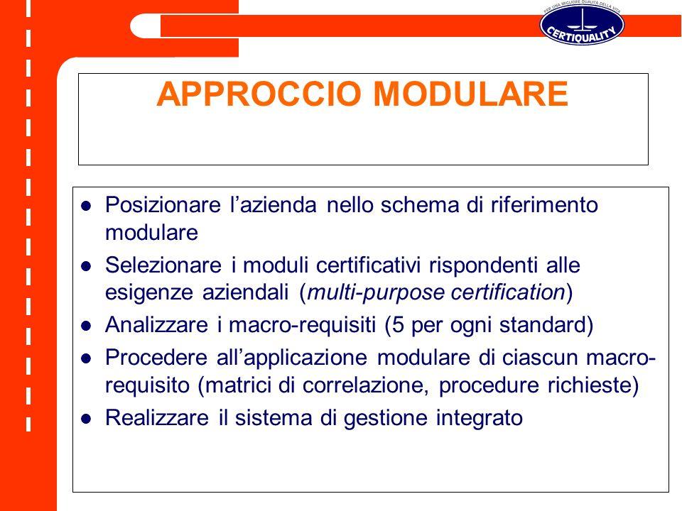 APPROCCIO MODULARE Posizionare l'azienda nello schema di riferimento modulare.