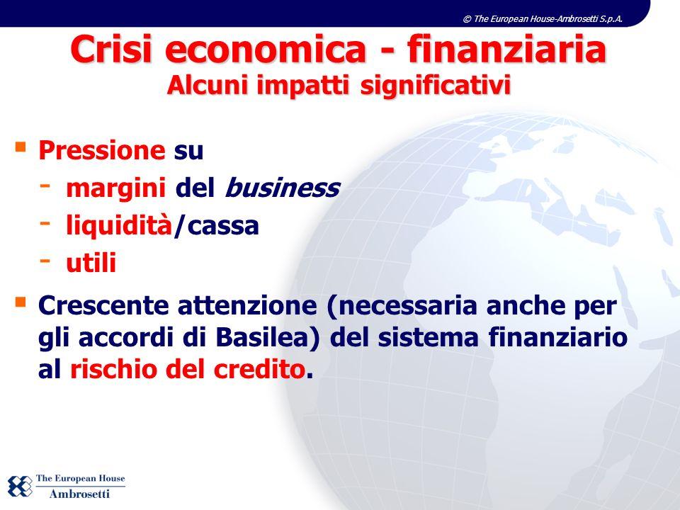 Crisi economica - finanziaria Alcuni impatti significativi