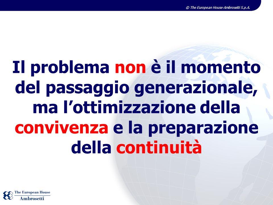 Il problema non è il momento del passaggio generazionale, ma l'ottimizzazione della convivenza e la preparazione della continuità
