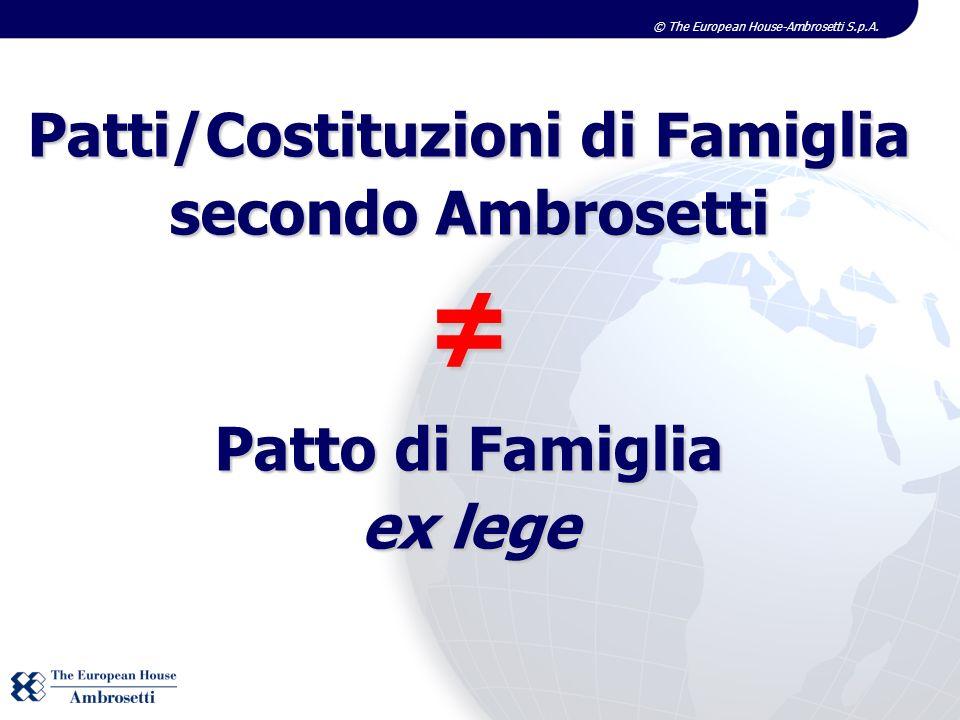 ≠ Patti/Costituzioni di Famiglia secondo Ambrosetti