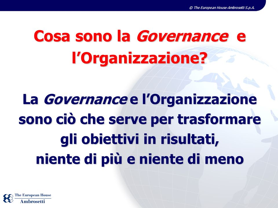Cosa sono la Governance e l'Organizzazione