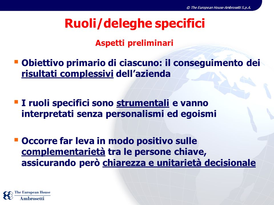 Ruoli/deleghe specifici