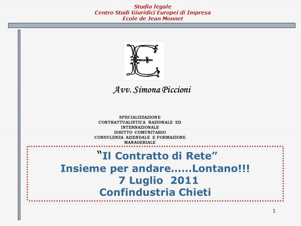 Il Contratto di Rete Avv. Simona Piccioni