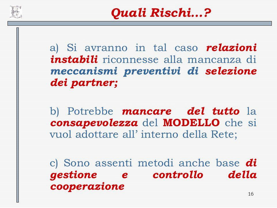 Quali Rischi… a) Si avranno in tal caso relazioni instabili riconnesse alla mancanza di meccanismi preventivi di selezione dei partner;