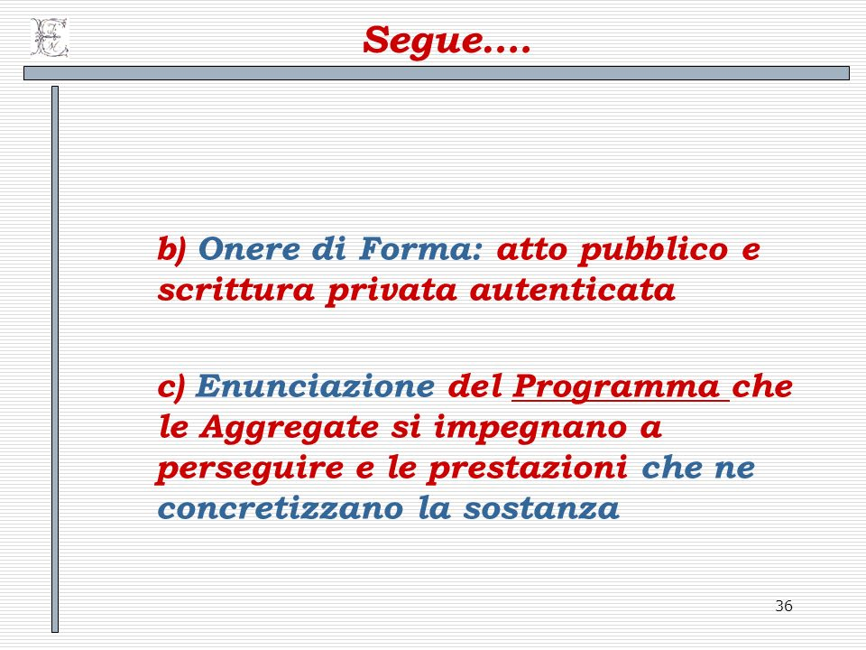 Segue…. b) Onere di Forma: atto pubblico e scrittura privata autenticata.