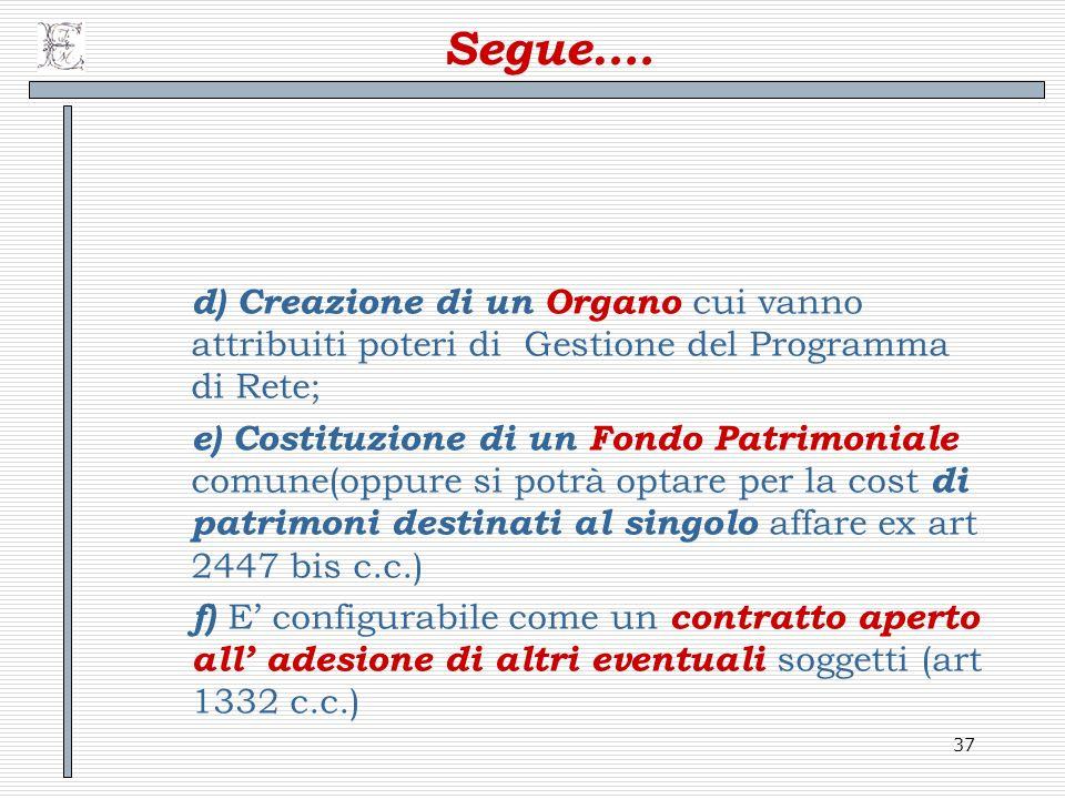 Segue…. d) Creazione di un Organo cui vanno attribuiti poteri di Gestione del Programma di Rete;