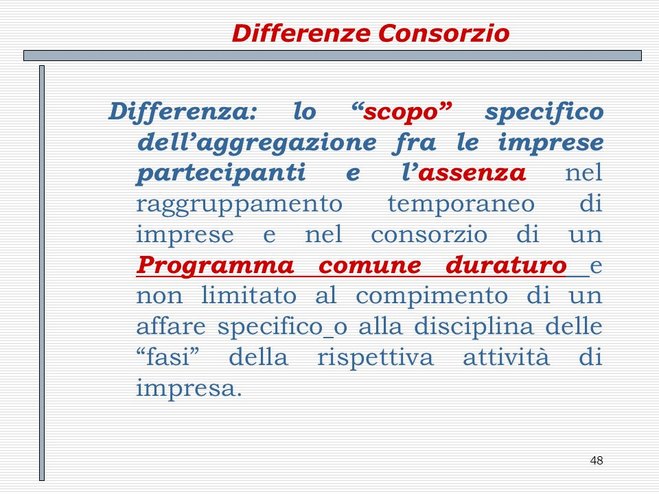 Differenze Consorzio