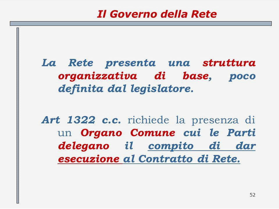 Il Governo della Rete La Rete presenta una struttura organizzativa di base, poco definita dal legislatore.