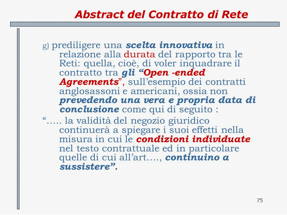 Abstract del Contratto di Rete