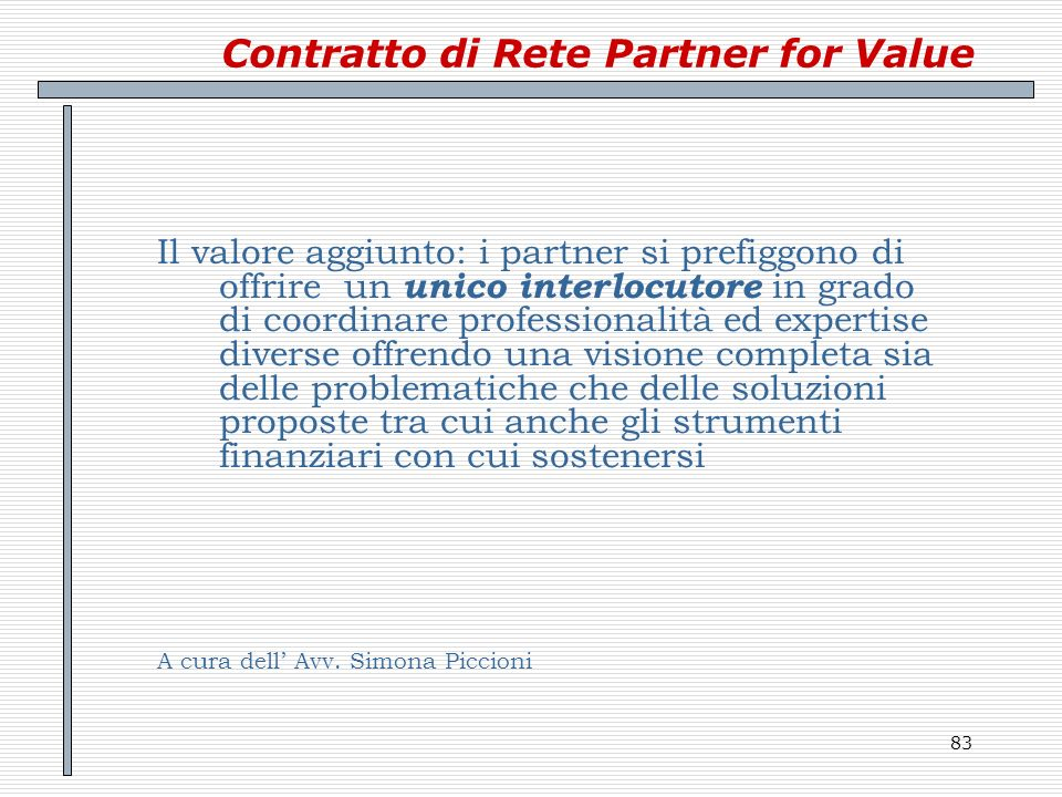 Contratto di Rete Partner for Value