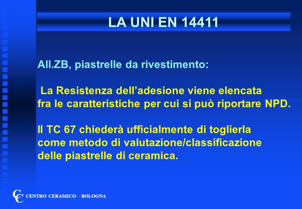 LA UNI EN 14411 C C All.ZB, piastrelle da rivestimento: