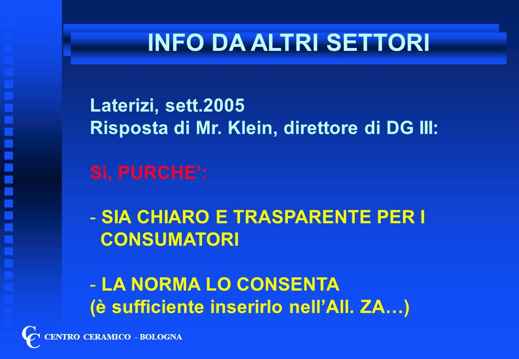 INFO DA ALTRI SETTORI C C Laterizi, sett.2005