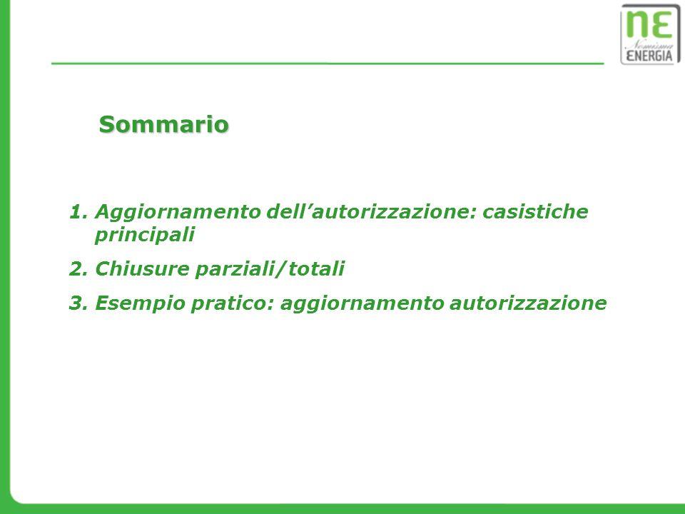Sommario Aggiornamento dell'autorizzazione: casistiche principali