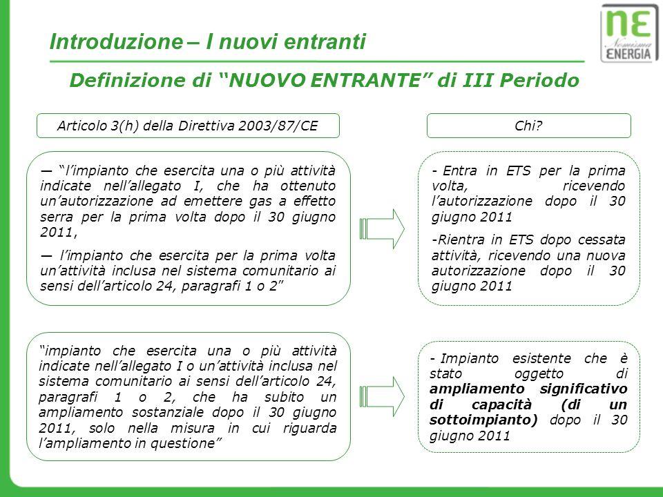 Articolo 3(h) della Direttiva 2003/87/CE