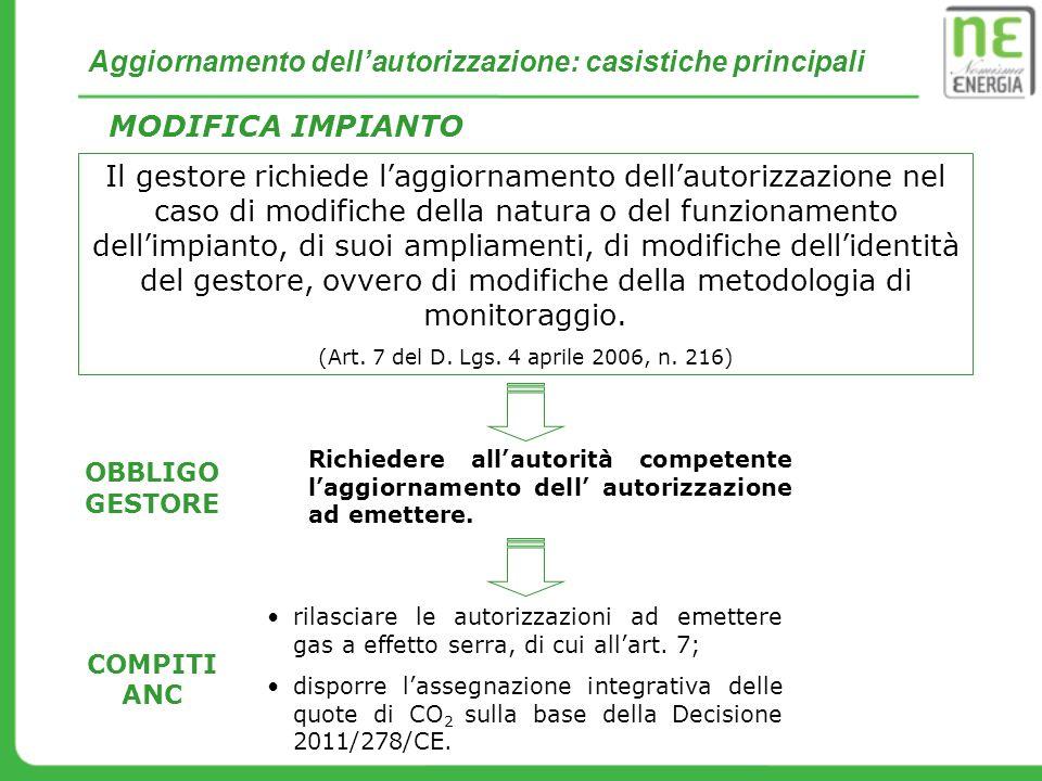 Aggiornamento dell'autorizzazione: casistiche principali