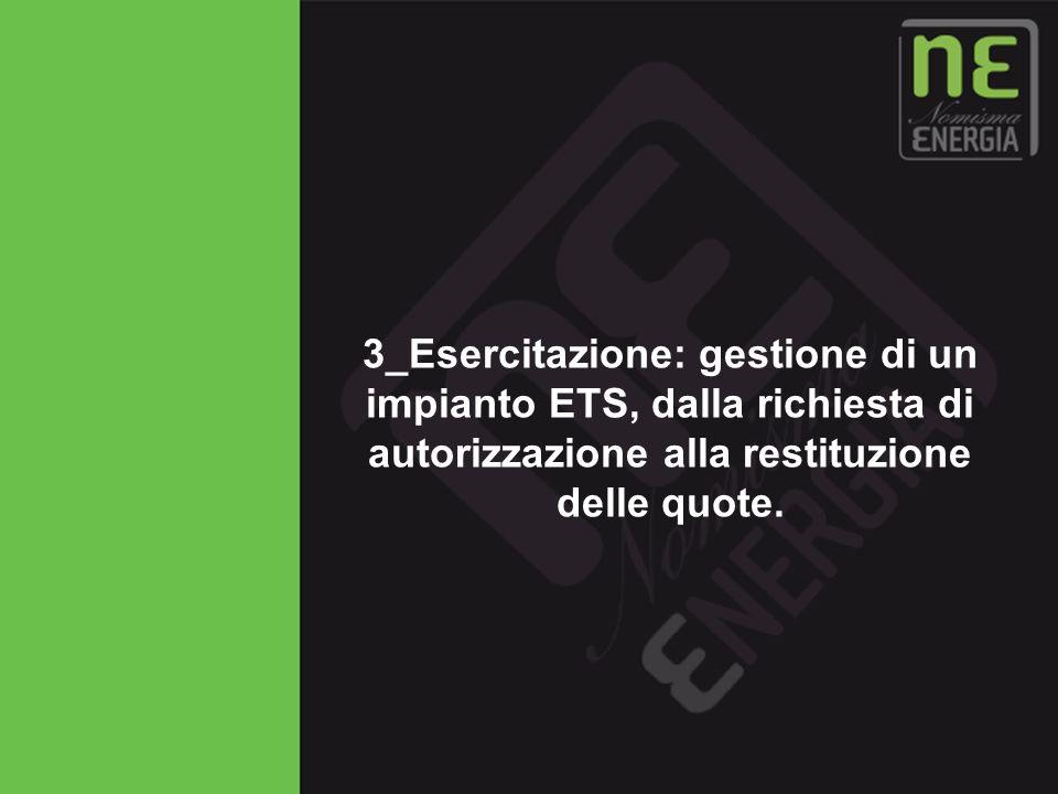 3_Esercitazione: gestione di un impianto ETS, dalla richiesta di autorizzazione alla restituzione delle quote.