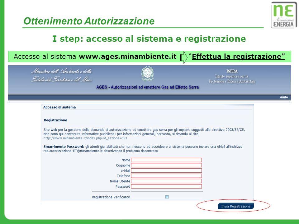 I step: accesso al sistema e registrazione