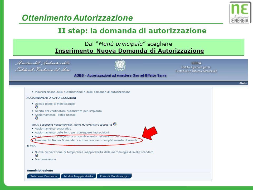 II step: la domanda di autorizzazione