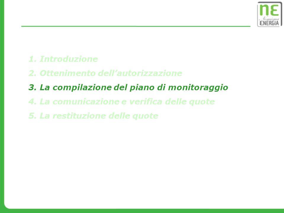 Introduzione Ottenimento dell'autorizzazione. La compilazione del piano di monitoraggio. La comunicazione e verifica delle quote.