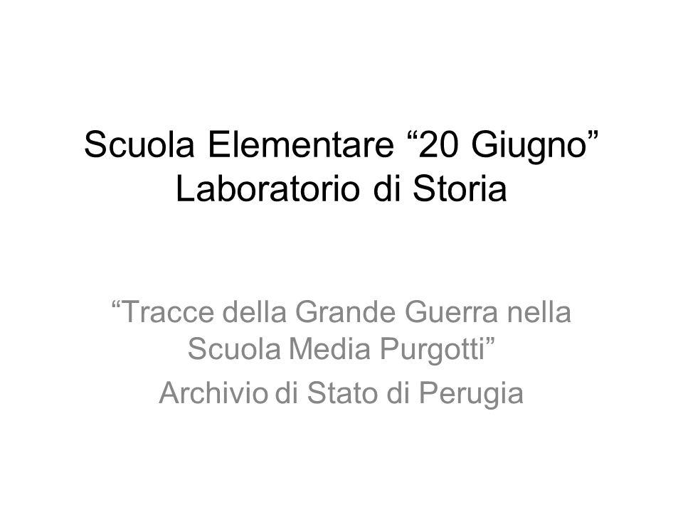 Scuola Elementare 20 Giugno Laboratorio di Storia