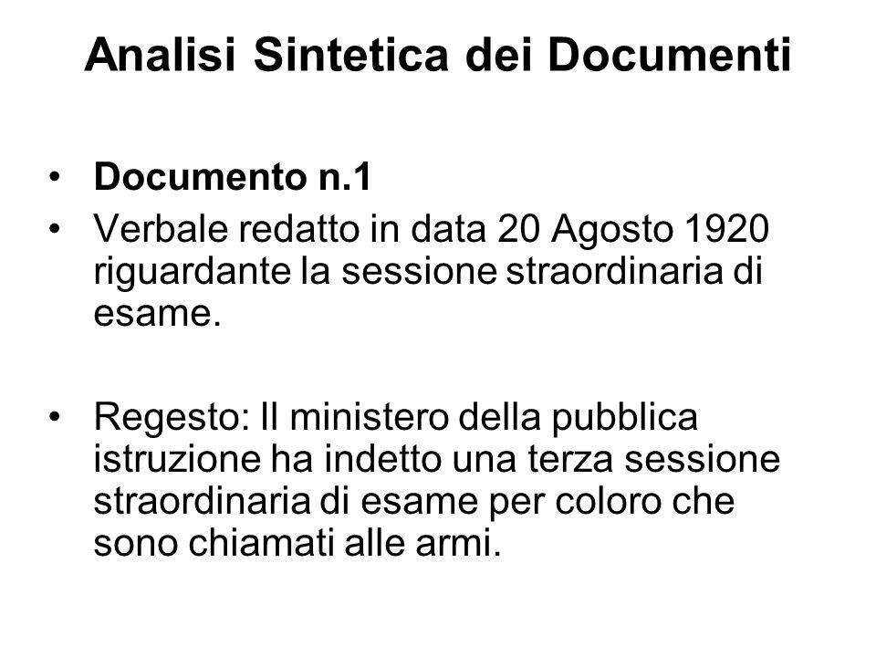 Analisi Sintetica dei Documenti