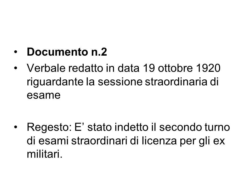 Documento n.2 Verbale redatto in data 19 ottobre 1920 riguardante la sessione straordinaria di esame.