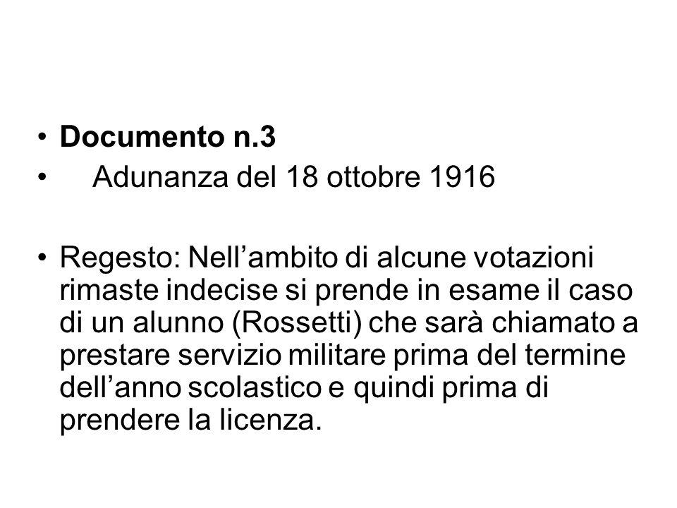 Documento n.3 Adunanza del 18 ottobre 1916.