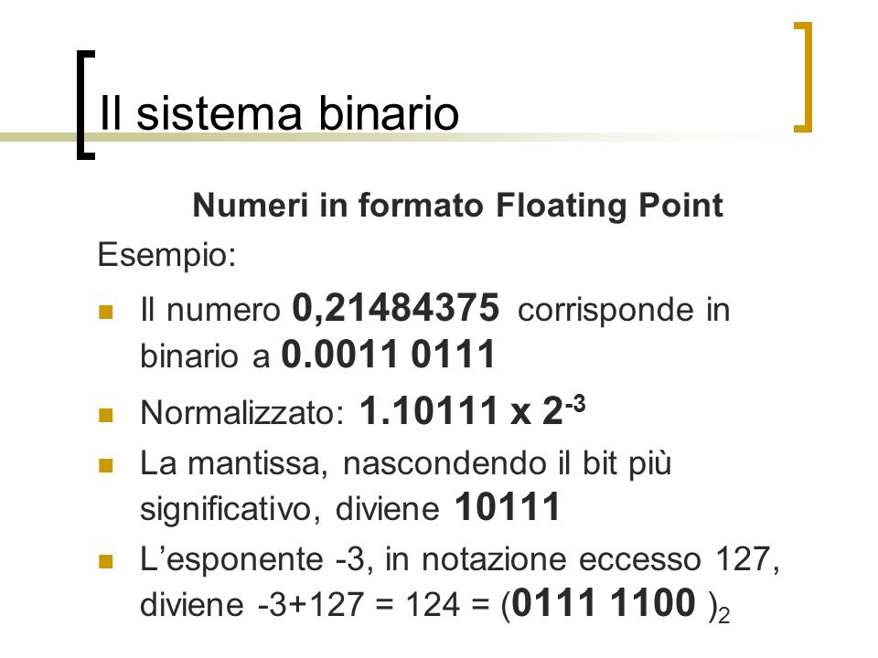 Numeri in formato Floating Point