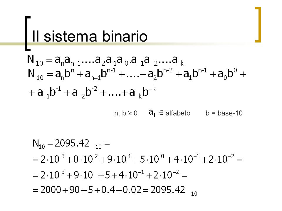 Il sistema binario n, b ≥ 0 alfabeto b = base-10