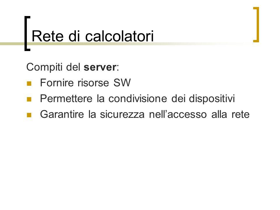Rete di calcolatori Compiti del server: Fornire risorse SW