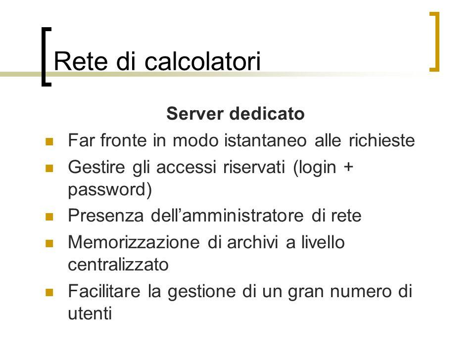 Rete di calcolatori Server dedicato