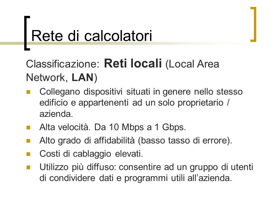 Rete di calcolatori Classificazione: Reti locali (Local Area Network, LAN)