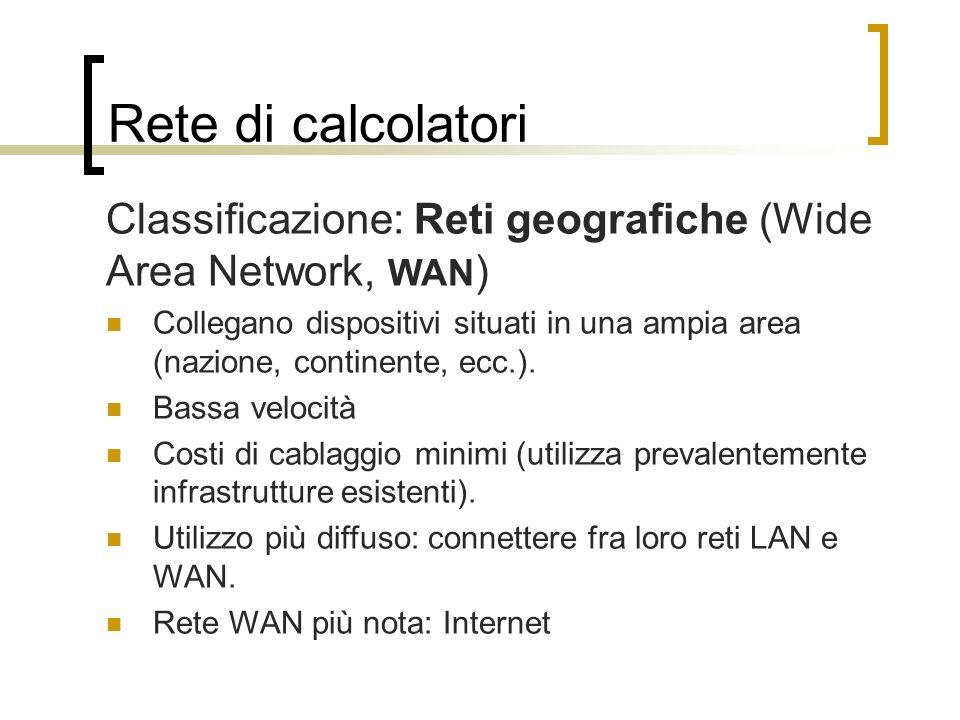 Rete di calcolatori Classificazione: Reti geografiche (Wide Area Network, WAN)