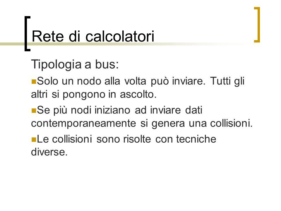 Rete di calcolatori Tipologia a bus:
