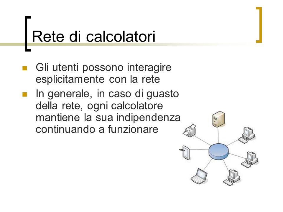 Rete di calcolatori Gli utenti possono interagire esplicitamente con la rete.