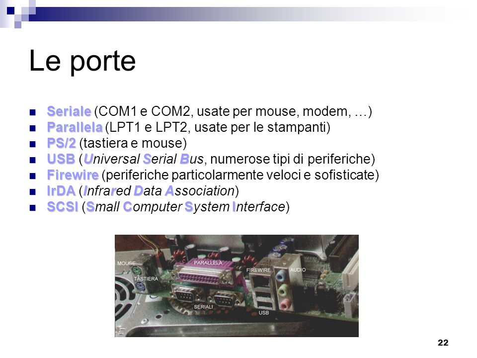 Le porte Seriale (COM1 e COM2, usate per mouse, modem, …)