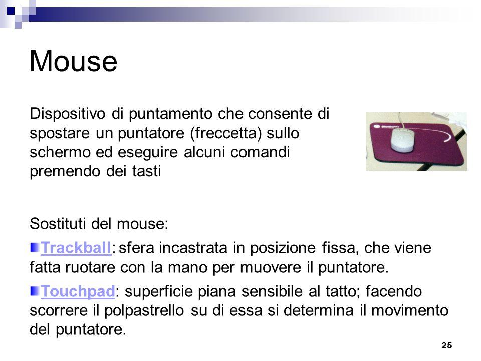 Mouse Dispositivo di puntamento che consente di spostare un puntatore (freccetta) sullo schermo ed eseguire alcuni comandi premendo dei tasti.