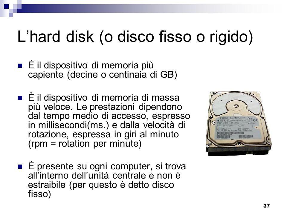 L'hard disk (o disco fisso o rigido)