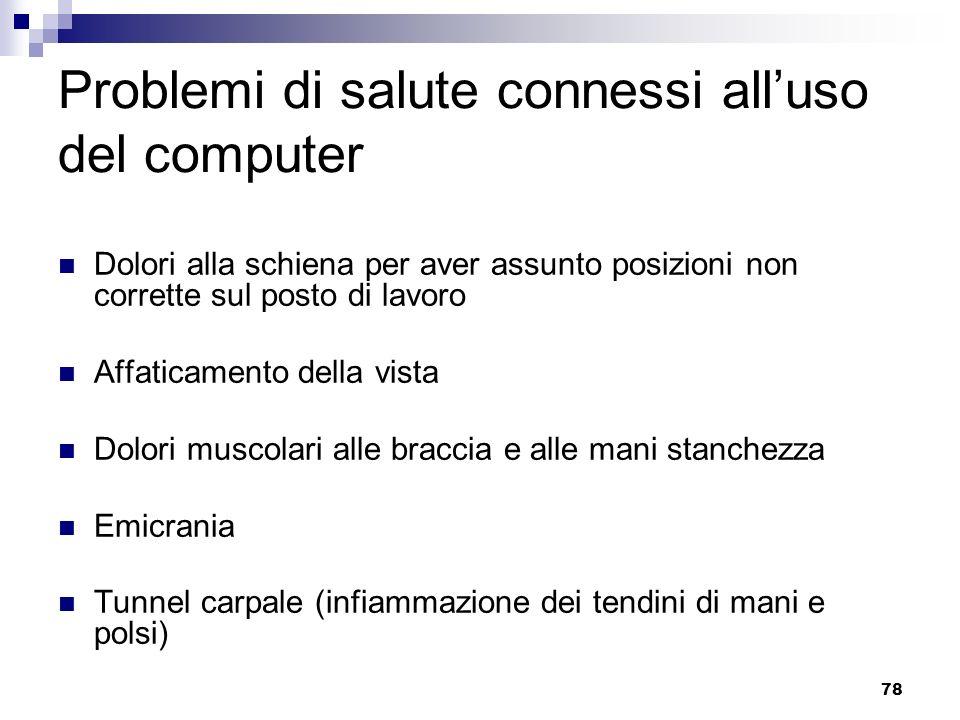 Problemi di salute connessi all'uso del computer