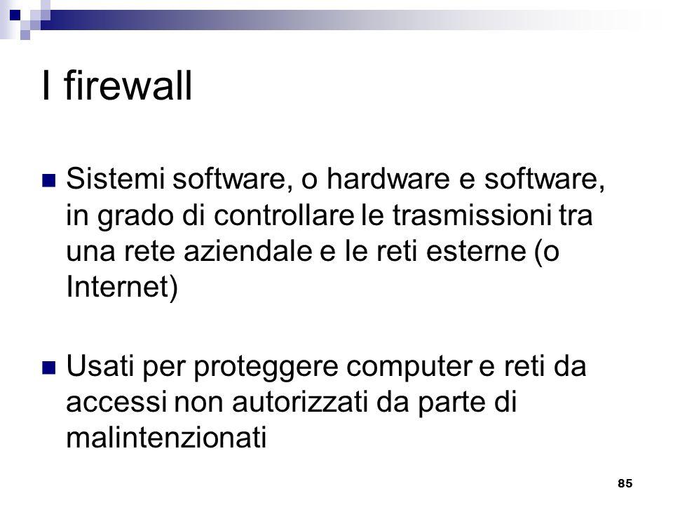 I firewall Sistemi software, o hardware e software, in grado di controllare le trasmissioni tra una rete aziendale e le reti esterne (o Internet)