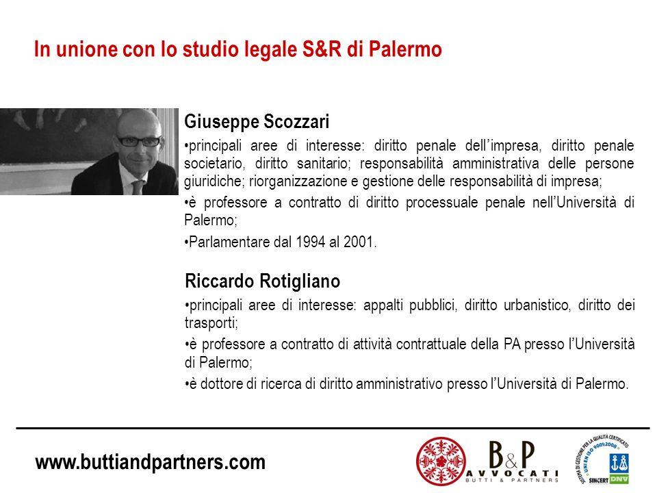 In unione con lo studio legale S&R di Palermo