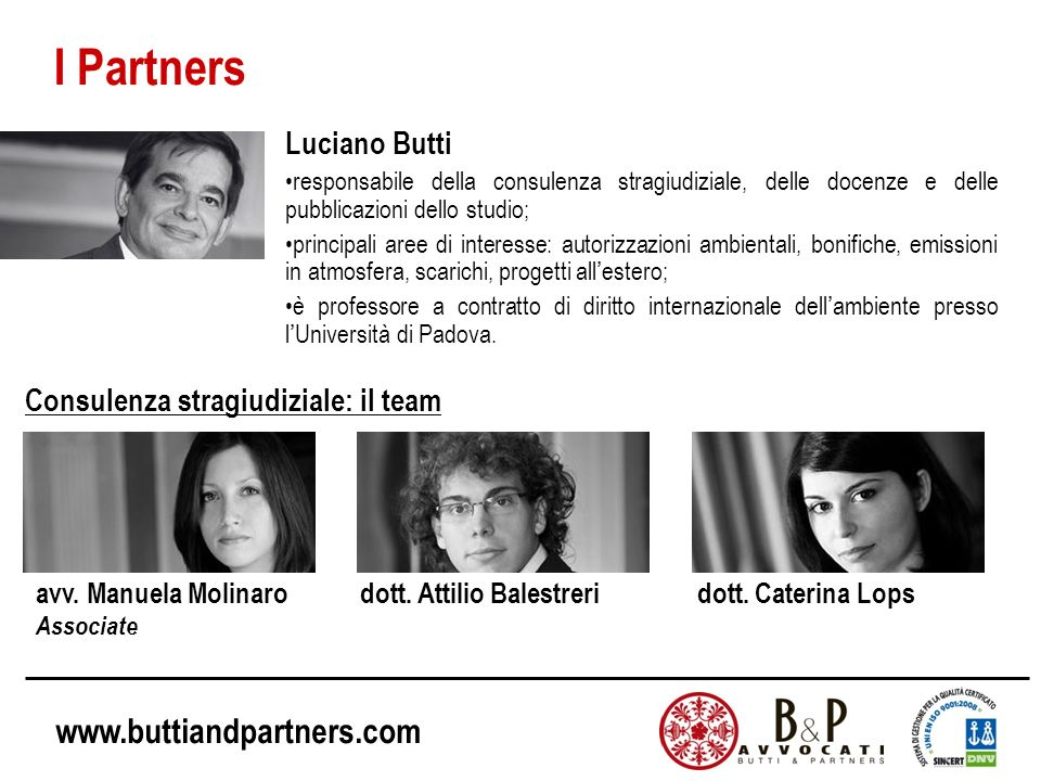 I Partners Luciano Butti Consulenza stragiudiziale: il team