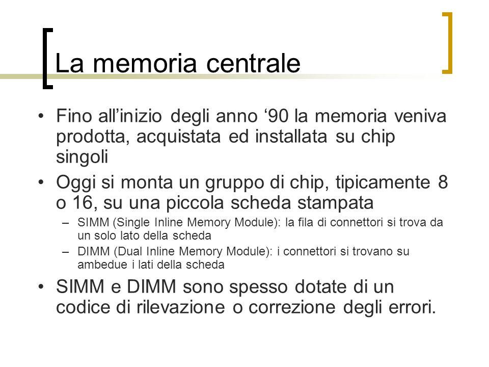 La memoria centrale Fino all'inizio degli anno '90 la memoria veniva prodotta, acquistata ed installata su chip singoli.