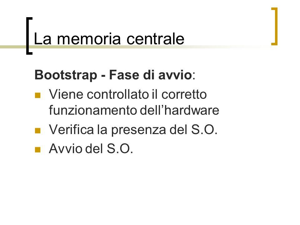 La memoria centrale Bootstrap - Fase di avvio: